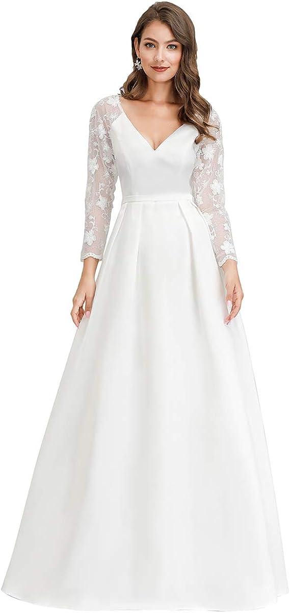 Ever-Pretty Women's V-Neck A-Line Lace Long Regular dealer Satin It is very popular Wedding Beach