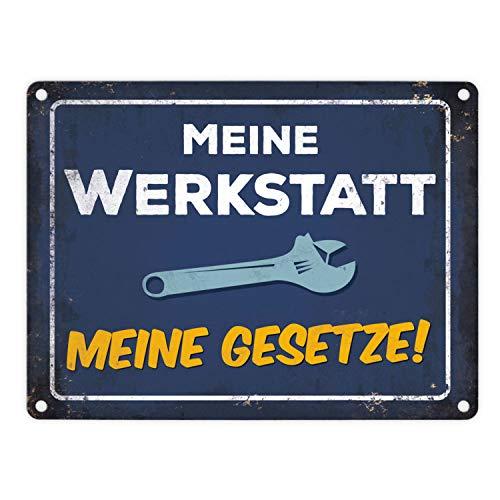 trendaffe - Meine Werkstatt, Meine Gesetze Blechschild in 15x20 cm - Metallschild Reklameschild Dekoschild