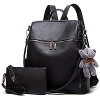 2-Piece YTL women Fashion Nylon Purses Backpack Set (Black-b)