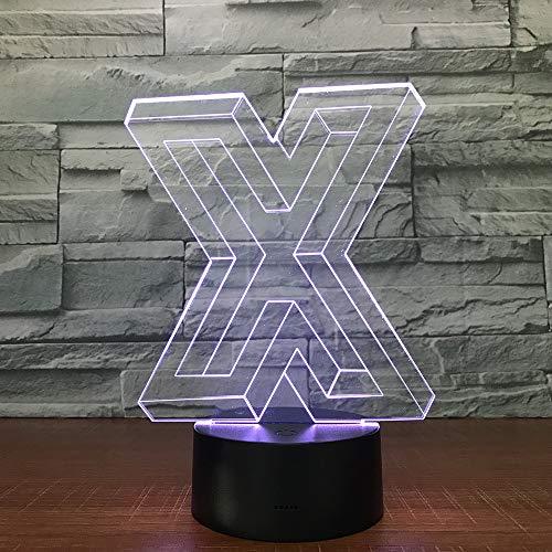 Letter X vorm 3D illusie lamp drie patronen en 7 kleurveranderende decoratieve lamp - perfecte cadeaus voor kinderen