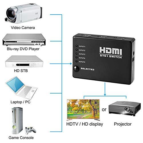 Leoie 5 Port HDMI splitter omschakelaar Hub IR afstandsbediening 1080p voor HDTV PS3