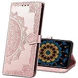 IMIRST OPPO Reno2 Z Hülle, Premium Leder Tasche Flip Wallet Hülle [Standfunktion] [Kartenfächern] PU-Leder Schutzhülle Brieftasche Handyhülle für OPPO Reno 2Z. SD Mandala Rose
