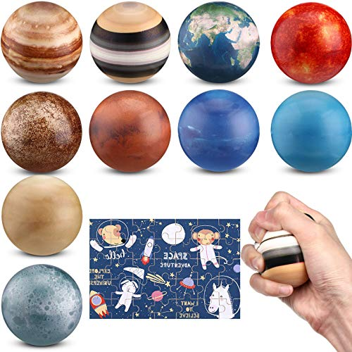 10 Pieces Solar System Stress Balls with Small Easy Space Planets Puzzle, Anti Stress Solar Planets Balls Set, Educational and Learning Activities for Teens and Adults