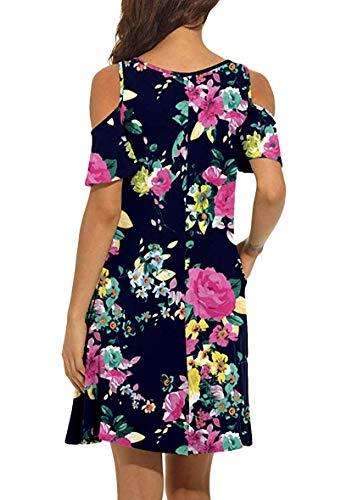 YMING Vestido de mujer informal, sin tirantes, manga corta, cuello redondo, mini vestido con bolsillos, XXS-XL Flores azules y fucsia. L