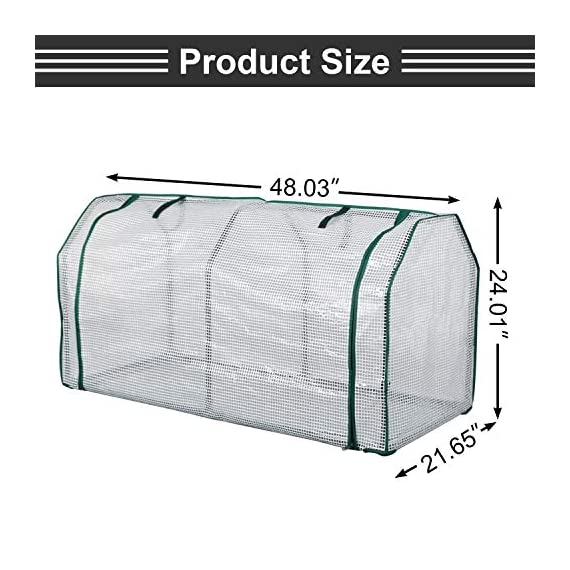 """Lynslim mini greenhouse, 48"""" x24x 21. 6"""",pe cover,large zipper doors,indoor outdoor garden green house flowerpot cover 2 high quality:environmentally friendly pe material, waterproof and sun-drying, good thermal insulation effect, non-toxic and tasteless,strong and durable. Excellent light penetration rate ensures adequate sunlight and heat preservation. It will considerably extend your planting time. Mini sised greenhouse: 48""""x24x""""21. 6"""", enough space for your houseplant ,plant pots & seed beds. Zipped doors: zipped doors is easy to access as well as good ventilation and humidity."""