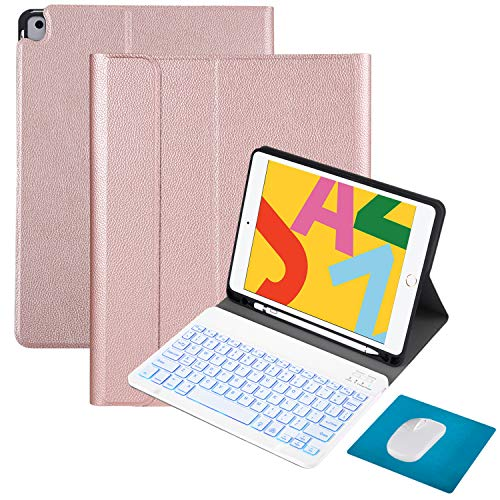 Tasnme iPad Air3 Backlit Keyboard Case [Canton Lychee Skin-Sense of SWEET] 4in1 iPad 8th Gen(2020)/7th Gen(2019) iPad 10.2 Inch iPad Air3/iPad Pro 10.5 Inch iPad Magnetic Keyboard Case and Mouse Pink