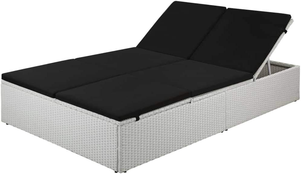 vidaXL 5 ☆ popular Sun Lounger with Cushion Outdoor Max 62% OFF Chaise Black Poly Rattan