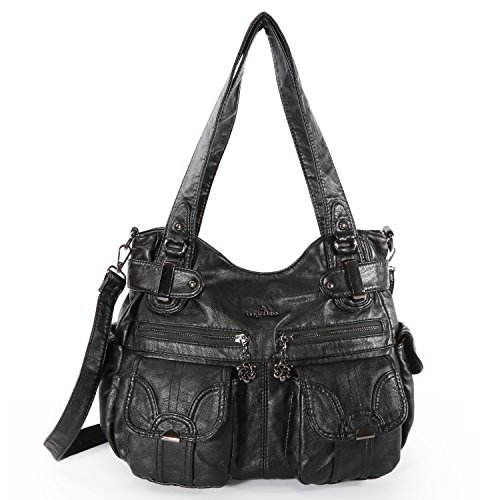 Angelkiss Women's Designer Handbag Large Double Zipper Multi Pocket Washed, Black