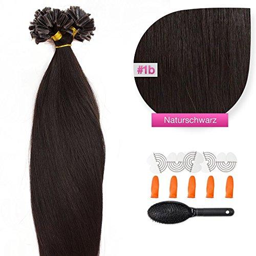 25 x 1,0g glatte indische Remy 100% Echthaar-Strähnen/ U-tip / Extensions / Haarverlängerung mit Keratinbondings 45 cm #1b naturschwarz - natural black
