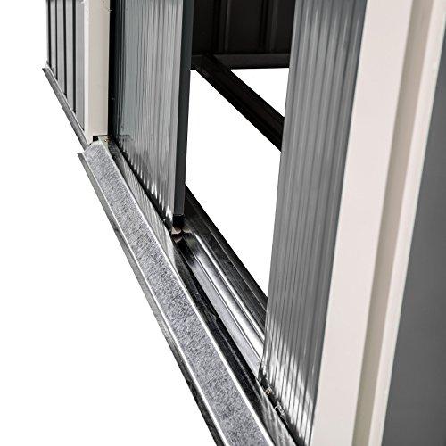 TecTake Metall Gerätehaus Gartenhaus Satteldach | Metall-Fundament | Diverse Farben und Modelle (Typ 3 | Grau | Nr. 402568) - 7