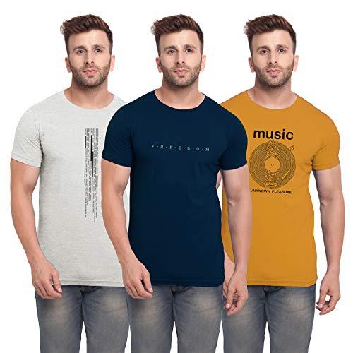 BULLMER Men's Regular Fit T-shirt (Set of 3) (BUL-BSP018_013_006-L_Multicolored_Large)