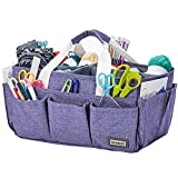 HOMEST Craft Supplies Organizer Tote Bag, Caddy for Scrapbooking & Sewing, Handle Carrier for Craft Tools, Purple