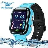 Montre GPS Enfant,LUKYBIRDS Enfant Smartwatch étanche Montre Enfants Garcon Voice Chat Telephone SOS Tracker Anti-Perte Fille Garçon Smart Watch Kids Gift (Bleu)
