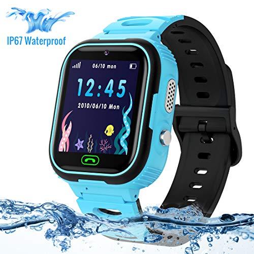 Montre GPS Enfant,LUKYBIRDS Enfant Smartwatch étanche Montre Enfants Garcon Voice Chat Telephone SOS Tracker...