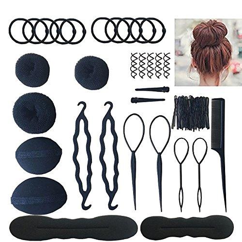 Hair Accessories Hair Braiding Tools For Women Topsy Tail Hair Tools Haircut Clamp Hair Bun Clip Maker Pads Hairpins Roller Braid Twist Sponge Hair Ponytail Tools for Hair Styles (Black)