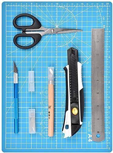 カッターマット 彫刻刀 カッティングボードマットセット メタル定規 ナイフとテーブルトップを保護するカッター カッターマット事務・模型・手芸等に A4