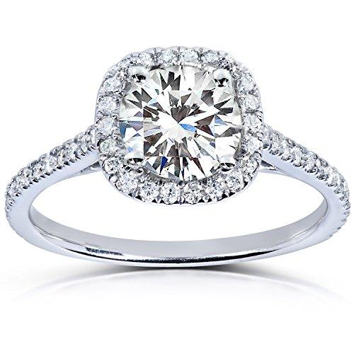 Kobelli Moissanite Für Immer EIN runder Moissanite- und Diamant-Halo-Verlobungsring aus 14 Karat Weißgold_4.0