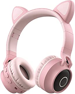 LED Glow Wireless Bluetooth 5.0 Headset, Collapsible Telescopic Computer Gaming Headset Head-Mounted Stereo Surround Sound Headset,Pink
