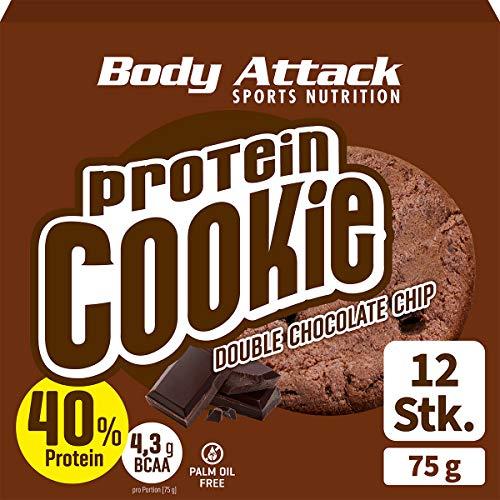 Body Attack Protein Cookie, Kekse einzeln verpackt, Gesunde Snacks mit viel Protein (Double Chocolate Chip)