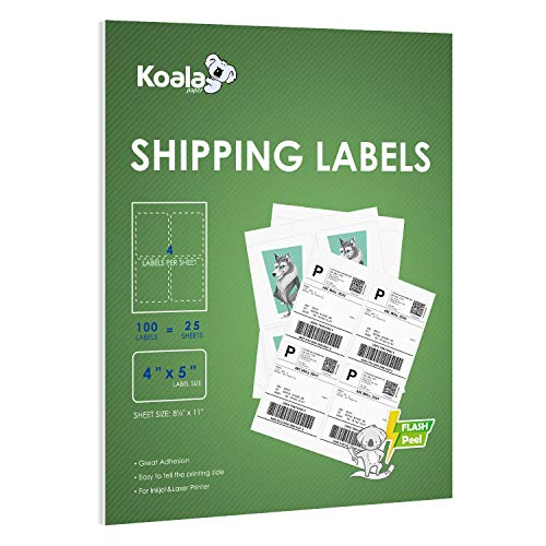 Koala 4-UP Shipping Labels 4x5 Inch Adhesive Label Stickers for Laser & Inkjet Printers, 25 Sheets 100 Labels