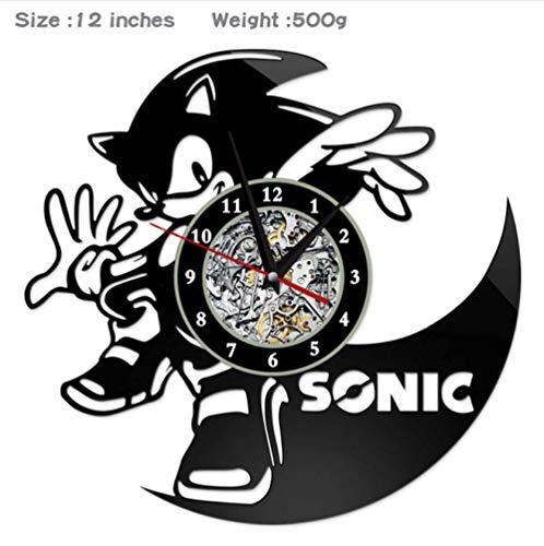 Ioxlks Wanduhr Aus Vinyl Schallplatte Wanduhr The Hedgehog Style Uhren für Wohnzimmer Silent Vintage CD Hängeuhr 30 cm W342