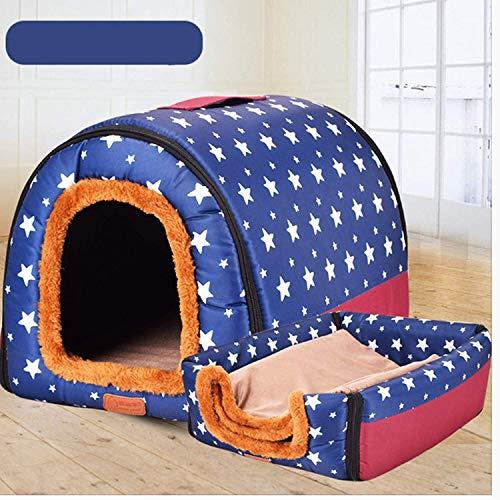 DKEE Cama de Perro Cottage Pet Supplieskennels Pet Nestsize: 35 * 38 * 46Cm Stars Pet Dog House Nest Casa Plegable for Gatos Casa for Perros con Rayas