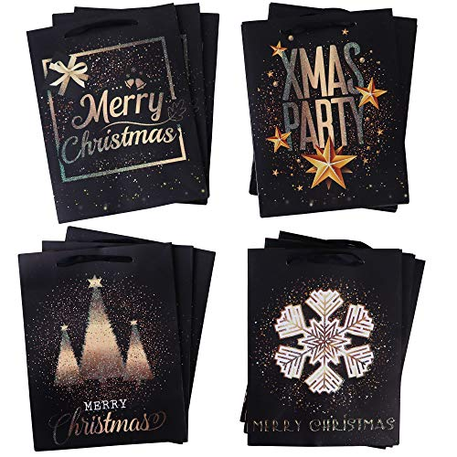 Set of 12 Assorted Glittery Christmas Gift Bags! Perfect Bags for Christmas Gifts, White Elephant Gifts, or Secret Santa! (Black Merry Christmas)