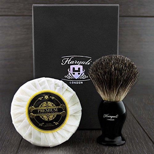 Haryali London Collection assemblé à la main Sophist avec élégance Conçu Noir blaireau cheveux blaireau et crème à raser.