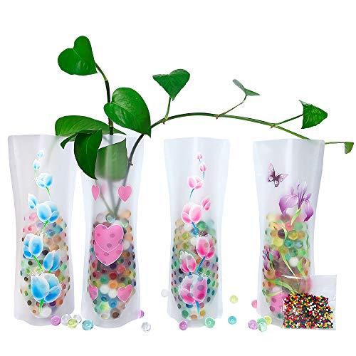 HGFF Faltbare & erweiterbare Kunststoff-Vase 8 Stück und Wasserperlen (ca. 800 Stück wiederverwendbar, für Reisen, Urlaub, Camping, Hochzeiten, Tischdekoration durchsichtig