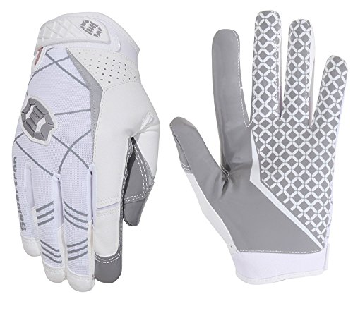 Seibertron Pro3.0 Football Gloves Rugby Football Gloves Elite Ultra Stick Sport Receiver Youth Adult Sport Gloves (White, Large)