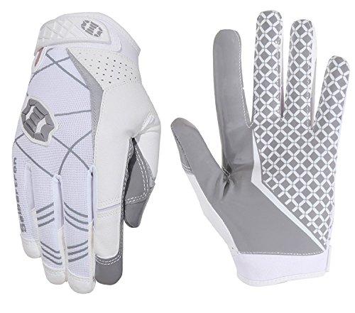 Seibertron Pro 3.0 Elite Ultra-Stick Sports Receiver/Empfänger Handschuhe American Football Gloves Jugend und Erwachsener (Weiß, S)
