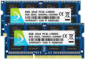 DUOMEIQI 16GB RAM Kit   2 x 8GB  DDR3L / DDR3 RAM 16GB 1600MHz SODIMM RAM PC3L / PC3-12800 2Rx8 1.35V /1.5V Non-ECC Unbuffered Laptop Memory Notebook RAM Module