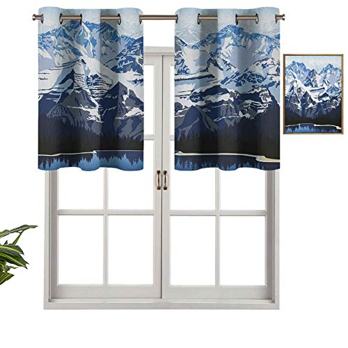 Hiiiman Elegant Grommet Top Curtain Valances Cartoon Like Mountain with Snow Landscape with Lake Reflection Art, Set of 1, 36'x18' Home Decorative for Boys-Girls Room