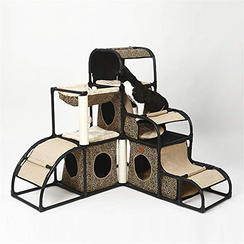 BESTSOON Cat Tree Tower Cat Climbing Tree Cat Jumping Platform Multifunctional Detachable Combination Cat Litter Pet Toy Kitten Furniture Activity Centre (Color : B, Size : 110 x 120 x 120cm)
