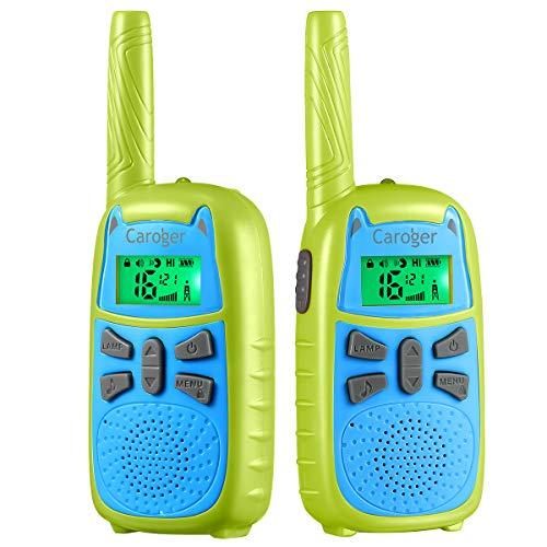 Niños Walkie Talkie, 7 Colores de Pantalla, 16 Canales, 2 Millas 2 Vías Radio de Largo Alcance, , Juguete con Linterna y VOX, Potencia Trabajo Dual de 0.1W y 0.5W ( 2 Paquete, Verde)