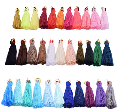 KONMAY 50PCS 1.4''(3.5cm) Soft Handmade Silky Tiny Craft Tassels with Golden Jump Ring for DIY Projects (Mixed Randomly)