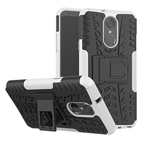 TiHen Handyhülle für LG stylo4/LG Q Stylus Hülle, 360 Grad Ganzkörper Schutzhülle + Panzerglas Schutzfolie 2 Stück Stoßfest zhülle Handys Tasche Bumper Hülle Cover Skin mit Ständer -Weiß