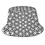 Blanco Negro Caleidoscopio psicodélico Patrones sagrados Geometría Unisex Sombrero de Cubo Gorra de Pescador de Verano