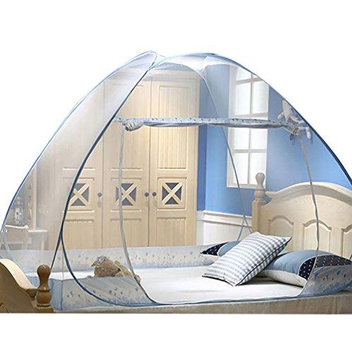 YOUJIA Seule Porte Moustiquaire de lit Baldaquin Tente Moustique Tente de Lit Bleu 1.5 * 2 * 1.5m