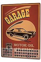 カレンダー Perpetual Calendar Vintage Car Garage Tin Metal Magnetic