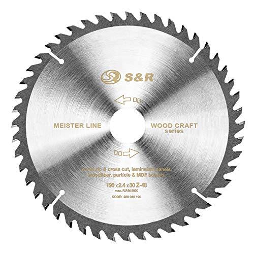 S&R Hoja de sierra circular de 190 mm x 30 mm x 2,4mm 48Dientes / Disco para Madera de Calidad Profesional
