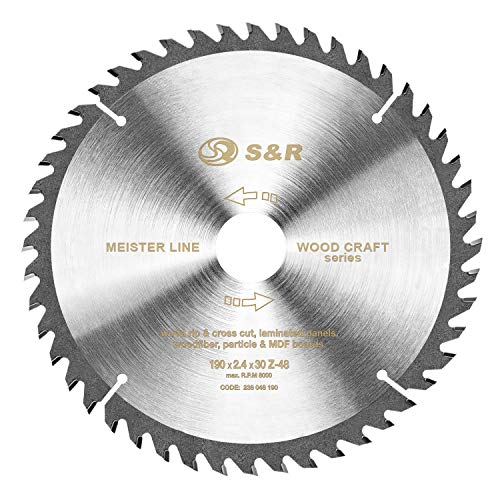 "S&R Kreissägeblatt 190 x 30 x 2,4mm 48T\""Wood Craft\"" Kreissäge Sägeblatt für Holz in Profiqualität"