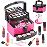 AWEFRANK 30 Pcs Kids Makeup Kit for Girl, Washable Girl Makeup Toy with Makeup Box, Non-Toxic Pretend Play Makeup Kit for Kids, Girl Real Cosmetic Toy Beauty Set