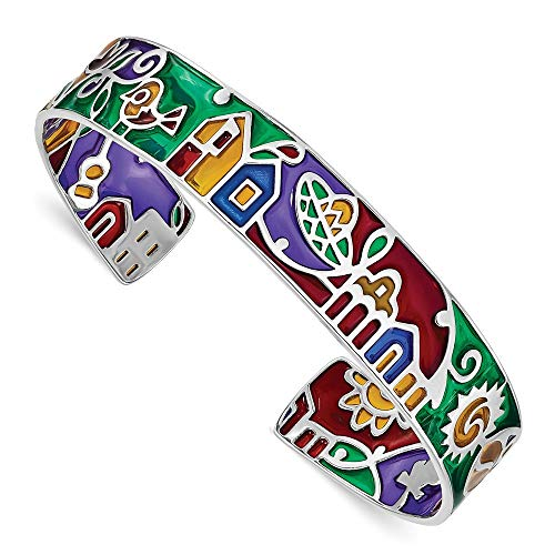 Armreif, 925er Sterlingsilber, rhodiniert, Mosaik, mehrfarbig, emailliert, Mexiko, Armband, Schmuck, Geschenke für Frauen