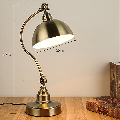 OOFAY LIGHT American Style All Copper Table Lamp Bedroom Bedside Study Countryside Retro Eye-Protection Desk Lamp