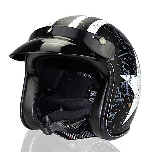 Woljay 3/4 Offener Sturzhelm, Helmet Motorrad-Helm Jet-Helm Scooter-Helm Vespa-Helm Halbhelme Adult Helm Flat mit Rebellen Schwarz + Weiß Star Graphic (M)