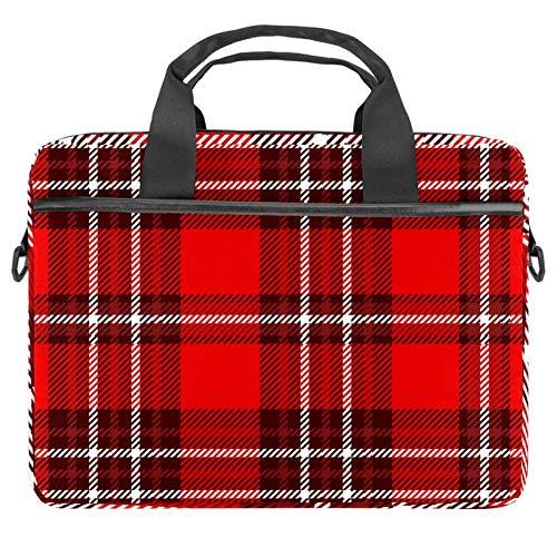 Inhomer Laptop Messenger Shoulder Bag Red and White Checkered Plaid Notebook Sleeve Carrying Briefcase Handbag