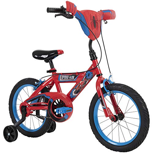 """Huffy Marvel Spider-Man Kid Bike Quick Connect Assembly, Handlebar Plaque & Training Wheels, 16"""" Wheel, Red"""