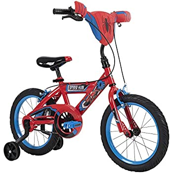 Huffy Marvel Spider-Man Kid Bike Quick Connect Assembly Handlebar Plaque & Training Wheels 16  Wheel Red