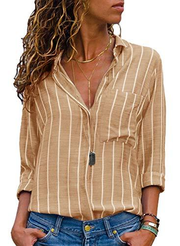 AitosuLa Bluse Gestreift Damen Hemd Oberteile V-Ausschnitt Lose Casual Chiffon Langarm T-Shirt Top Tunika Elegant Langarmshirt Streifen Khaki Weiß L